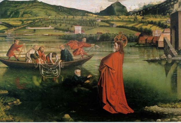 Konrad Widz, Gesu' appare sul lago di Tiberiade, 1444, Ginevra.