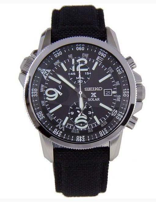 Montre Seiko Prospex Chronographe Solar SSC293P2, style militaire avec bracelet nylon noir.
