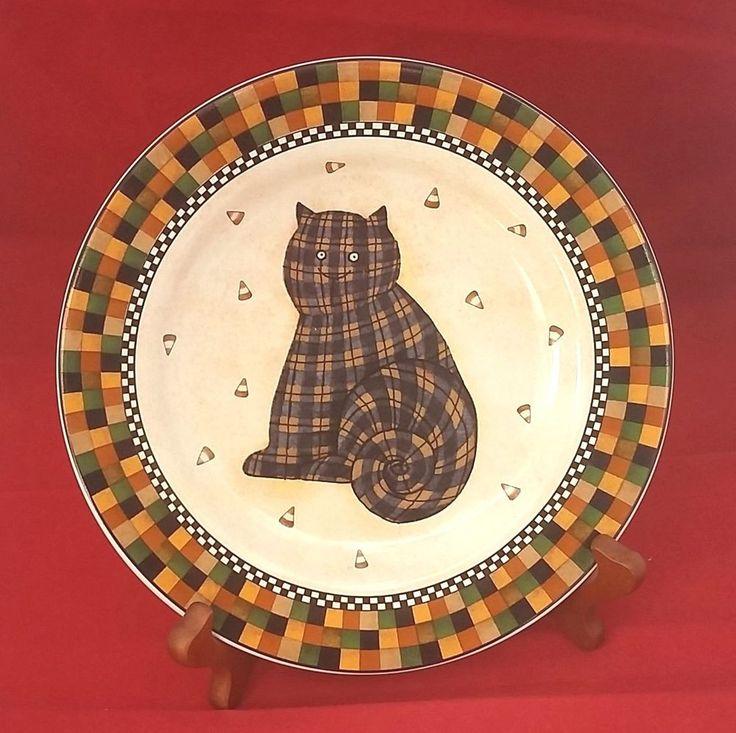 halloween checkered cat candy corn sakura debbie mumm 1998 ceramic 8 plate - Halloween Plates Ceramic