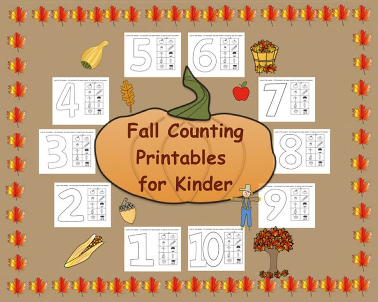 This is a PDF file with 10 pages.  Each page contains a large number from 1-10 and 10 fall pictures.  Students look at the number and cut and paste the matching number of pictures onto it.  For example on the number three they must choose 3 pics to cut and paste onto the given number.  Please download the preview to see all the pages in this file.