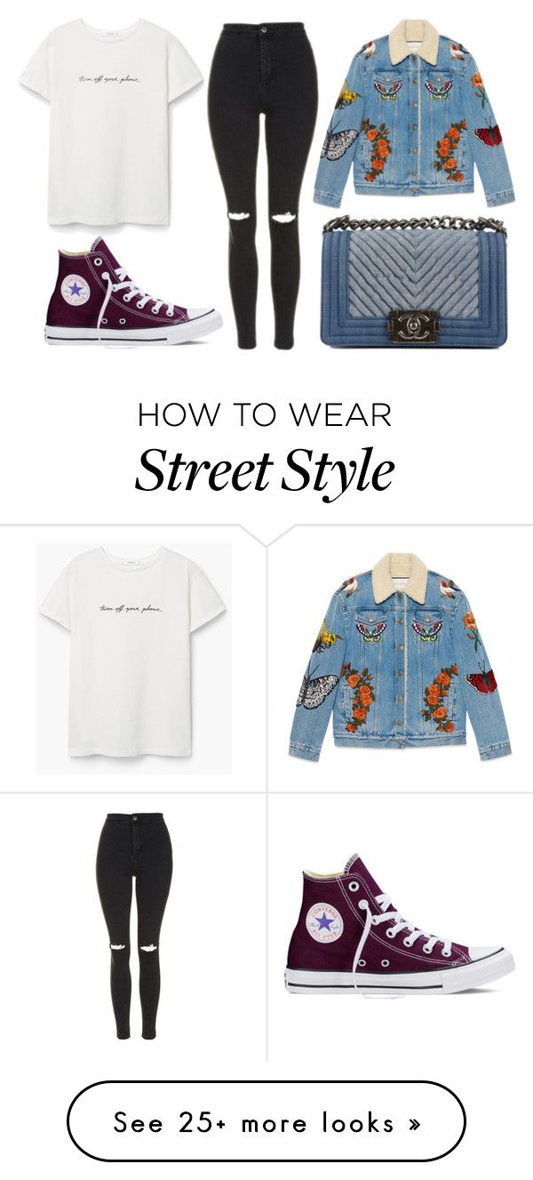 """""""Street Style"""" by gz-d on Polyvore featuring MANGO, Topshop, Gucci, Converse and Chanel"""