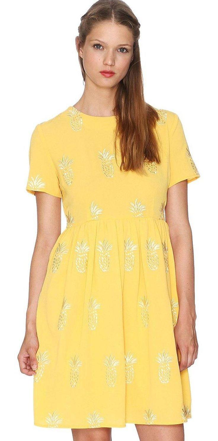 Vestido look hipster mujer manga corta con diseño estampado frutal en color amarillo, ideal para esta primavera - verano.