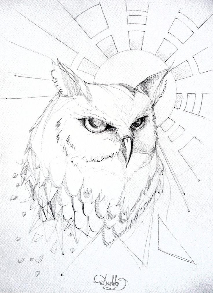 illustration by #dushky | #art #illustration #tattoo #design #drawing #owl #sun #space #nebula #geometric