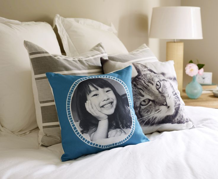 Personal photo pillows create the perfect place to cozy up. Add a favorite face or your own colorful design to match any room. Check out the variety of sizes and make your own now.