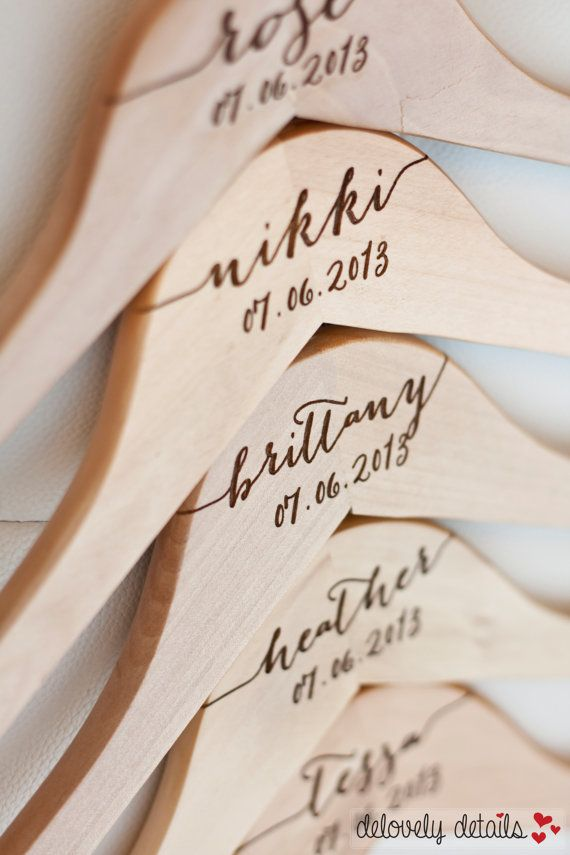 Personalized Bridesmaid Hangers Engraved by DelovelyDetails