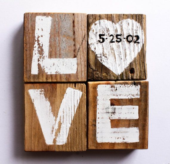 A Sweet Reminder of Your Engagement or Wedding. Makes a Perfect Gift! Hand painted wedding date love sign block arrangement Personalize this wedding