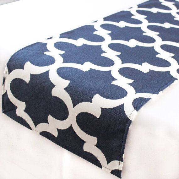 Navy Moroccan tile table runner Kitchen table by CaysonDecor