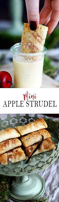 Mini Apple Strudel with Homemade Vanilla Sauce | Mini Apfelstrudel mit hausgemachter Vanillesauce