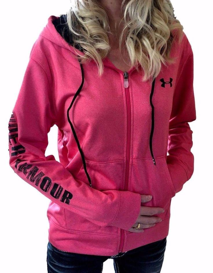 UNDER ARMOUR UA NWT/DEFECT ColdGear Logo Loose Full Zip Hoodie XL Pink  Black #