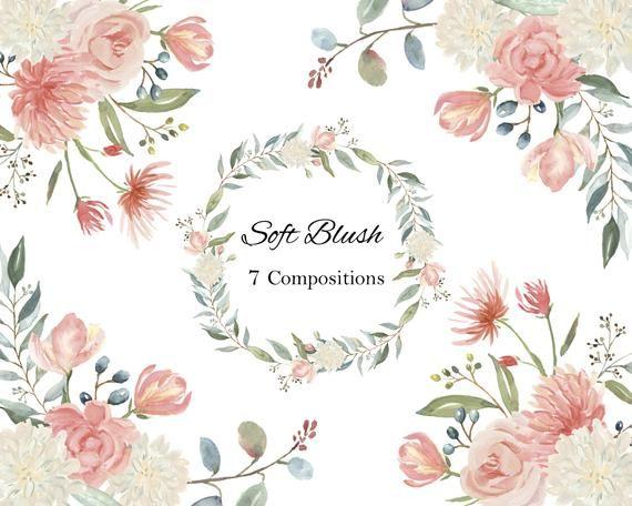 Blush Creme Et Coral Peach Clipart Aquarelle Fleurs De Corail