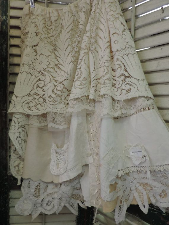 Gypsy Antique Lace Skirt  2 by VictorianTailor on Etsy  Wish they weren't $350!