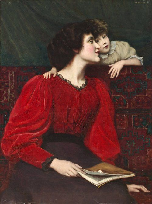 books0977:  Mother and Child (1899). William Mainwaring Palin (British, 1862-1947). Palin worked for five years with Wedgwood and Son before attending the Royal College of Art in London. He also studied in Italy, and Paris, with Boulanger and Lefebvre. He exhibited widely, especially with the Royal Society of British Artists.:
