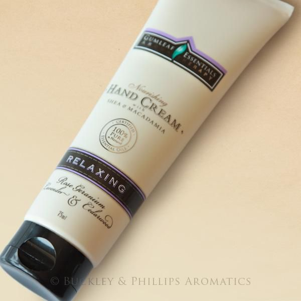 Gumleaf Essentials Hand Cream Relaxing. With essential oils of rose geranium, lavender & cedarwood. A blend of oils specially selected to have a calming effect on the mind and body and help to balance mood swings and relieve anxiety. Available at www.threemadfish.com