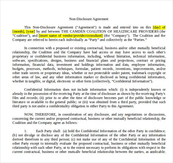 10 Non Disclosure Agreement Templates Word Excel Pdf