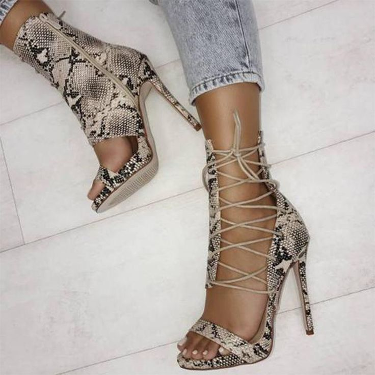 $39.99 ~ Roman Sandals Women Pumps European New Style snakeskin Booties Ladies Sexy Hollow Cross Lace Up Rivets Stiletto High Heels Shoes Woman