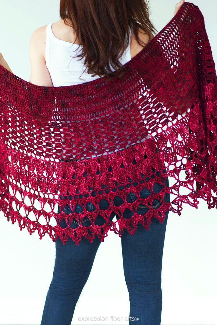 Red Velvet Rose Crochet Wrap Shawl Pattern by Expression Fiber Arts