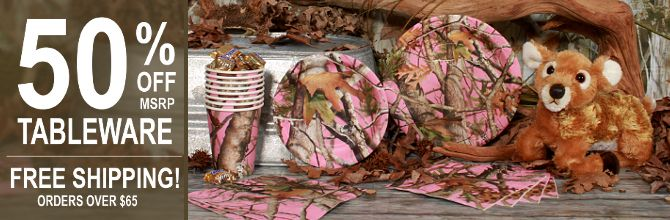 Camo Baby Shower Decorations | Pink Camo Party Supplies, FREE shipping offer, 50% off tableware, and ...