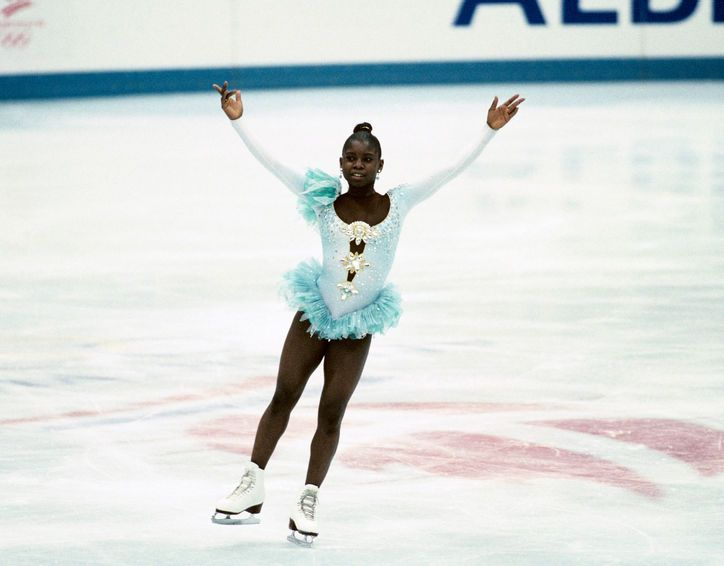 Best Olympic Ice Skating Costume: Surya Bonaly, 1992 Does Surya's outfit here look especially couture? It should—it was designed by Christian Lacroix.