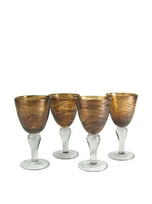 Artland Set of 4 Shimmer 12-Oz. Goblets (Amber)