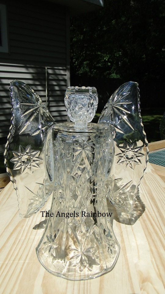 Garden Angel made from repurposed glass vase and bowls