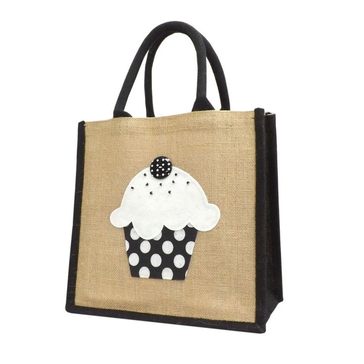 Natural Jute / Hessian Medium Wide Black Trim Shopping Bag - Felt Cupcake Motif