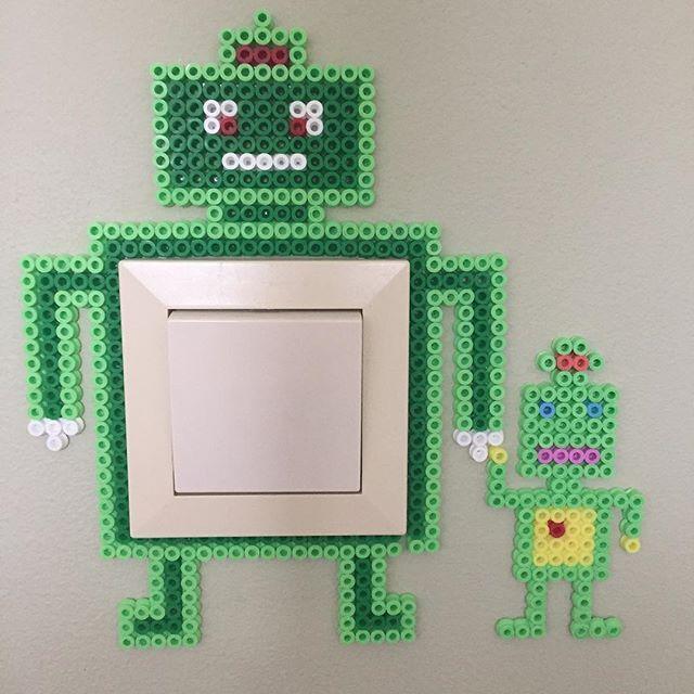 Robot light switch frame hama beads by krung
