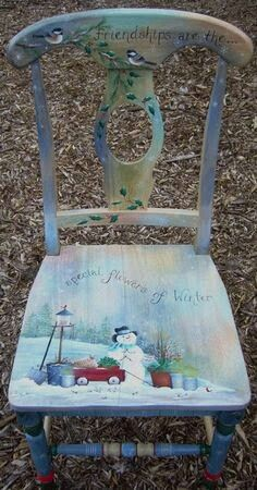 Snowman hand painted chair.