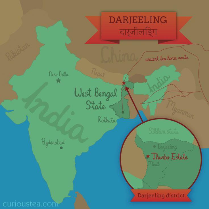 Regions Of Canada Map%0A Map of Thurbo tea estate  Darjeeling  curioustea