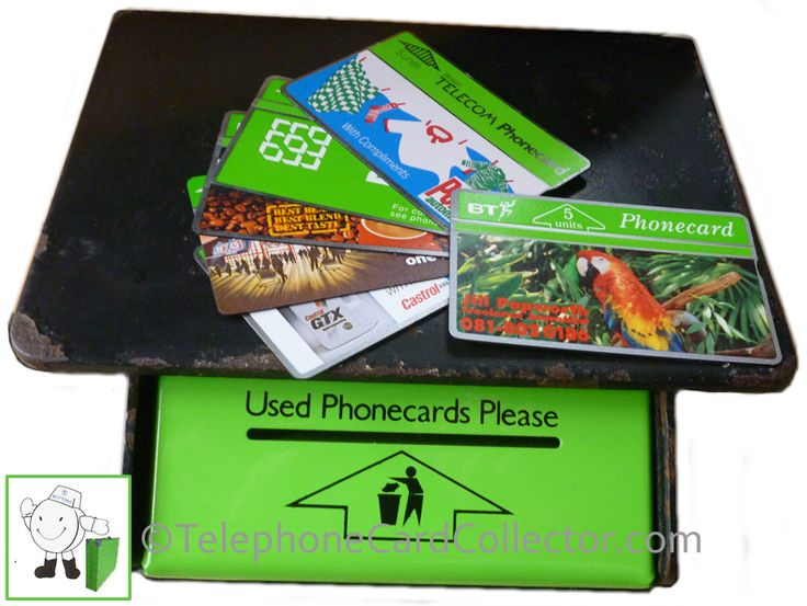 BT 'green' used Phonecard bin with a number of BT Phonecards on top.