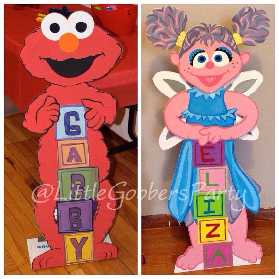 Sesame Street character cutouts! Elmo and Abby Cadabby! I make these cuties on white foam board and paint with acrylic paint.  They make great photo op props and cute decorations.  And not to mention but #SesameStreet is #awesome!  #LittleGoobersParty #handmade #custom #cardboardCutouts #standee #SesameStreetBirthdayParty #birthday #partydecorations #photoOp #photoProp #elmo #elmo1stbirthday #abbyCadabby
