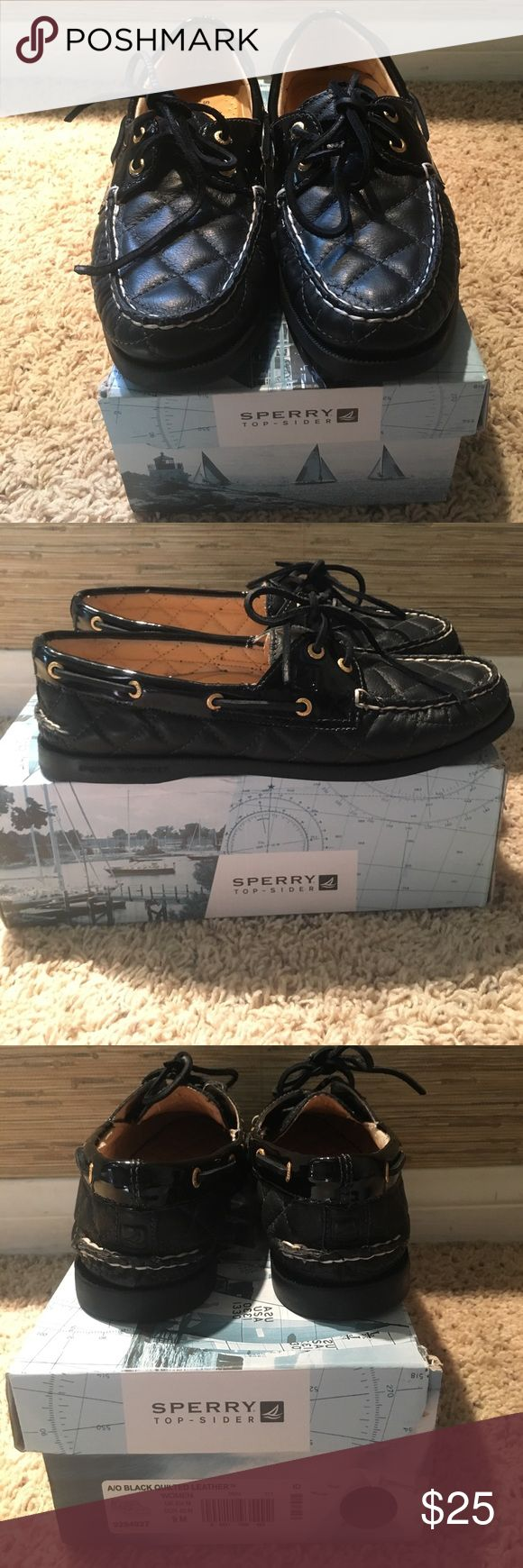 Black Sperrys A/O Black Quilted Leather Sperry Top-Sider Shoes Flats & Loafers