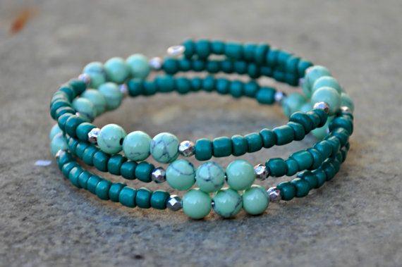 Beaded Boho Wrap Bracelet by HoleInHerStocking on Etsy
