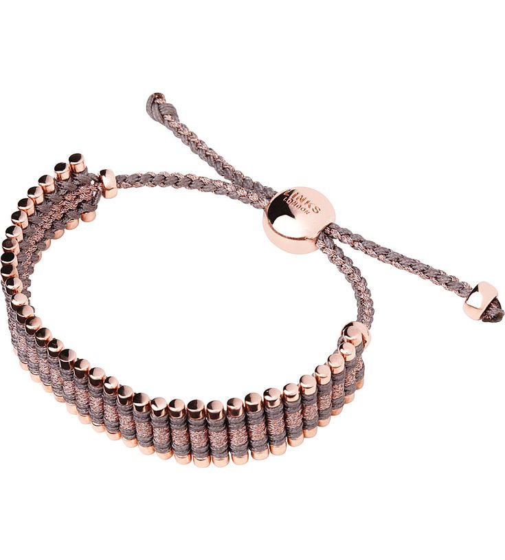 ss17 LINKS OF LONDON Rose gold taupe and copper friendship bracelet