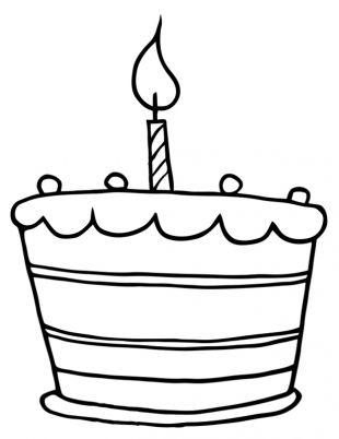 Torte zum Geburtstag Bild zum Ausmalen | Ausmalbilder für kinder