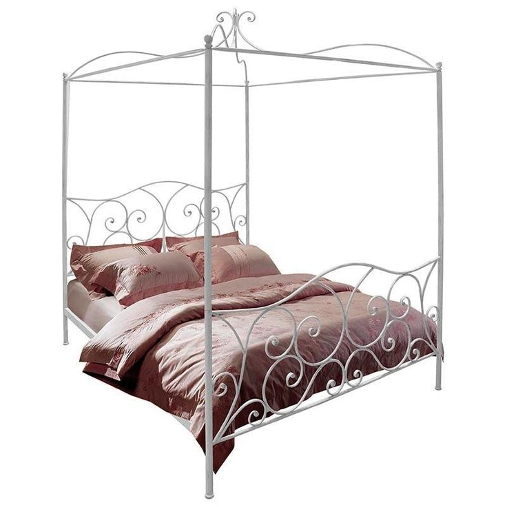 IRON DOUBLE BED IN ANTIQUE WHITE COLOR W/IRON BED TOP (W/O MOSQUITO NET) 167Χ209Χ240/(160X200) - Beds - FURNITURE - inart