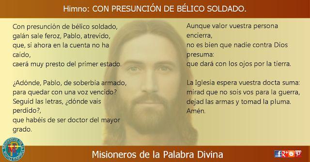 MISIONEROS DE LA PALABRA DIVINA: HIMNO LAUDES - CON PRESUNCIÓN DE BÉLICO SOLDADO