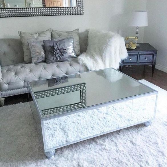 Diy mirrored coffee table for less than 200 diamantes for Decorative mirrors for less