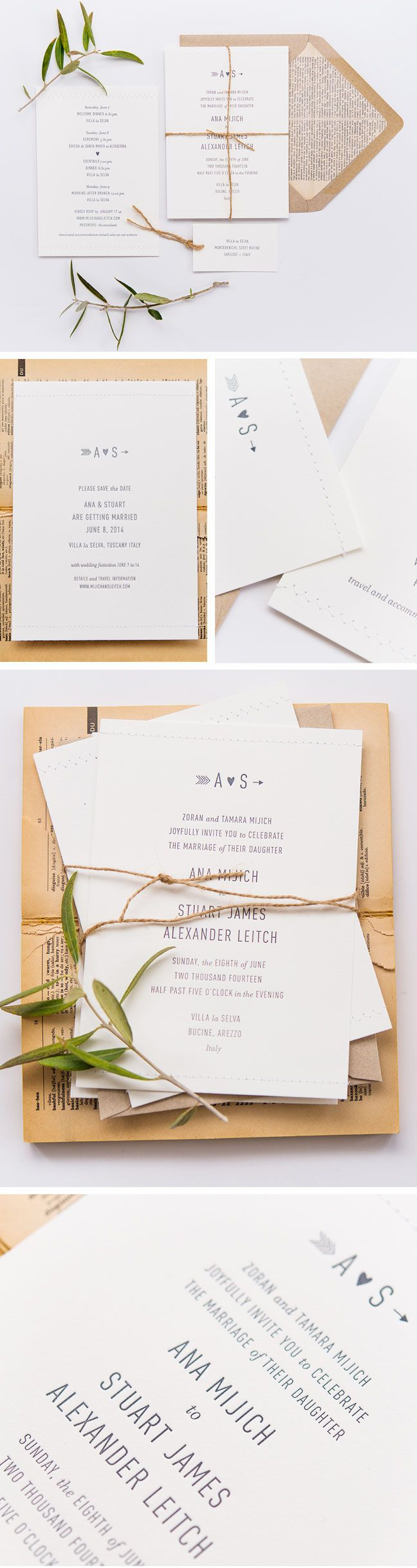Simple wedding stationery country style