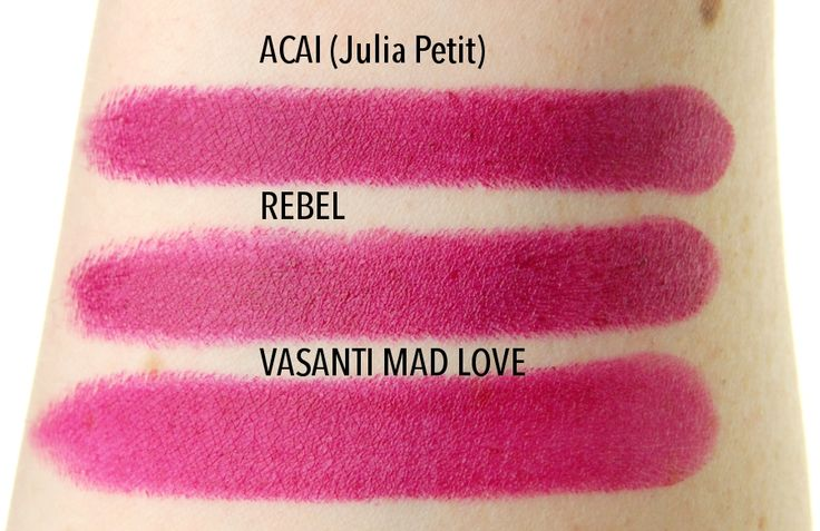 MAC Cosmetics Julia Petit Acai lipstick swatch comparison dupe Rebel #MACJuliaPetit #MACcosmetics