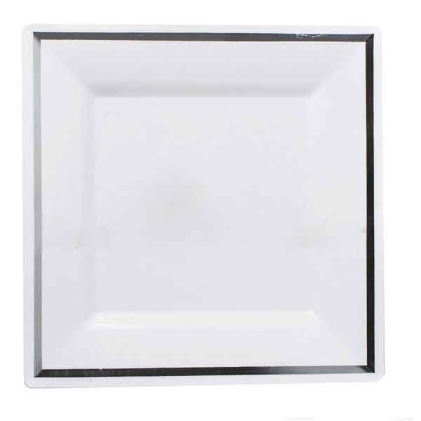 Imperial 10 Inch White Plastic Square Plate with Silver Band/Case of 120  sc 1 st  Pinterest & 12 best Imperial Plastic Wedding Dinnerware images on Pinterest ...