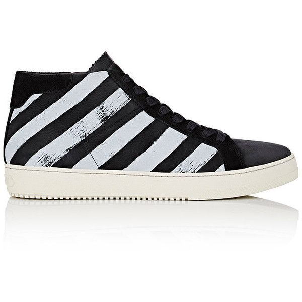 Off-White c/o Virgil Abloh Diagonal-Striped High-Top Sneakers Si ($525) ❤ liked on Polyvore featuring men's fashion, men's shoes, men's sneakers, black, mens lace up shoes, mens high top sneakers, mens black high top shoes, mens black high top sneakers and mens high top shoes