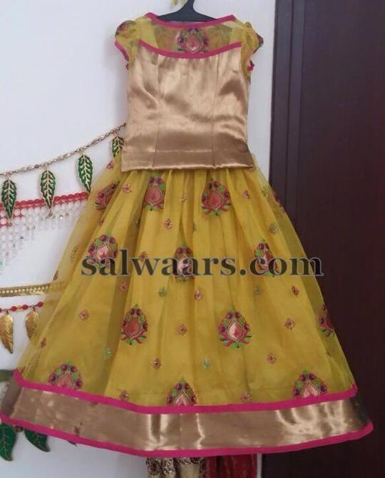 Light Mustard Net Lehenga - Indian Dresses