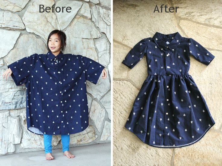 Look at how you can turn this Men's XL shirt into a girl's dress! #DIY Shop at your local Goodwill stores to find your DIY inspiration! http://www.goodwillvalleys.com/shop/