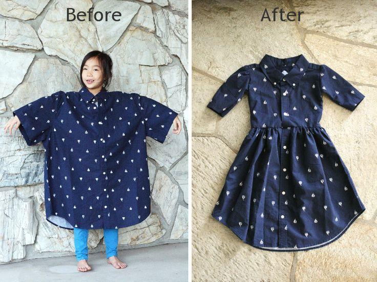 recycling…Mens XL shirt into a girls dress DIY