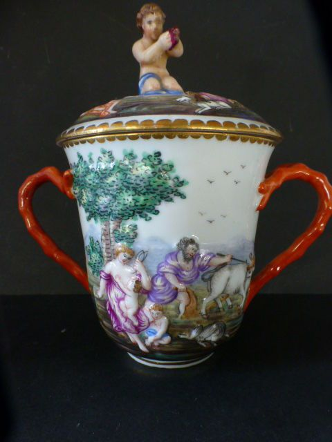 c1860 CAPODIMONTE / NAPLES PORCELAIN CHOCOLATE CUP & COVER
