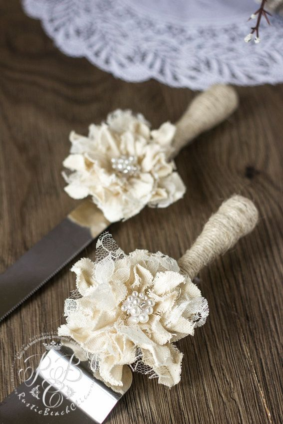 Rustic Wedding Cake Server and Knife Set   with от RusticBeachChic