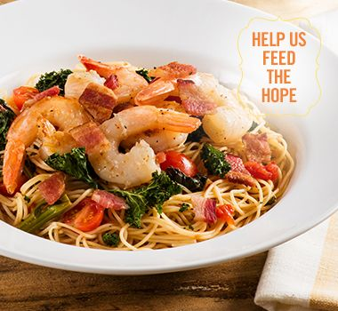 Herbed Shrimp Truffle Capellini Pasta Crispy Kale | For every Facebook share or download of our Pasta to the Rescue cookbook or its recipes, we're donating portions of pasta to food banks across Canada. Visit https://www.catelli.ca/en/feed-the-hope/ to learn more.