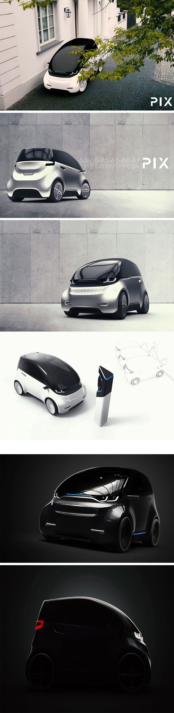 """Introducing, PIX – the first car concept to come from Polish electromobility company 2sympleks. They're calling it a """"short electric urban vehicle"""" and that  pretty much sums it up! It's about half the size of a standard SUV, all electric, and ideal for zipping around the city. Aesthetically, it's just plain  adorable. It sports soft curves, and an inviting """"face"""" that almost seems to smile!"""