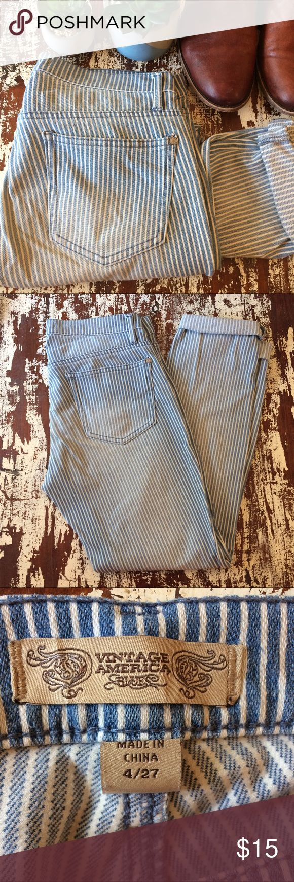 "Vintage America Engineer stripe pants Denim and white striped pants. Faded vintage look.  Material: 95% Cotton, 5% Spandex Measure: Inseam 27"" cuffed, 8.5"" rise, Top of jeans 30"", Leg opening 10""  Condition: Gently used Vintage America Blues Pants Ankle & Cropped"