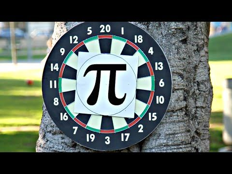 """Calculating Pi with Darts Pi can be calculated using a random sample of darts thrown at a square and circle target. The problem with this method lies in attempting to throw """"randomly."""" We explored different ways to overcome our errors. A million thanks to Derek Muller of Veritasium for his help with this video. http://youtube.com/veritasium. Also a huge thank you to Dan, Virginia, Lara and Cyrus for providing a yard. By: Physics Girl."""
